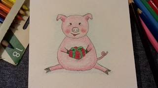 Свинья с подарком. Рисунок. Новый год 2019