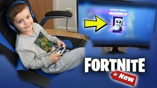 Giving My *5 YEAR OLD KID* 3000+ V-Bucks To Buy Complete EPIC 'MARSHMELLO' Set (Fortnite)
