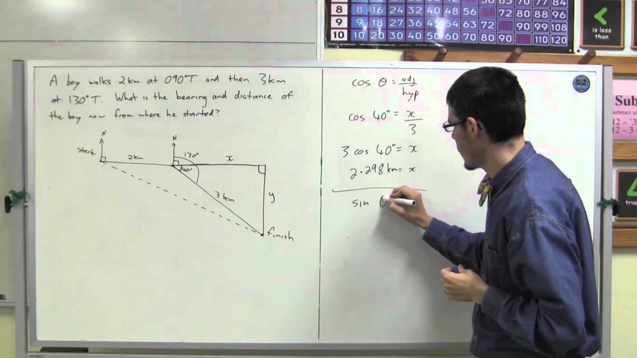 Solving bearings problems using trigonometry - YouTube