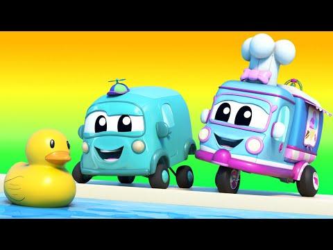 Truck Cartoons For Kids -  SUMMER: Rubber Ducks Race - Super Truck In Car City !