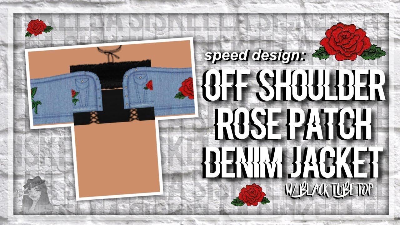 Roblox Speed Design Off Shoulder Rose Patch Denim Jacket W Black