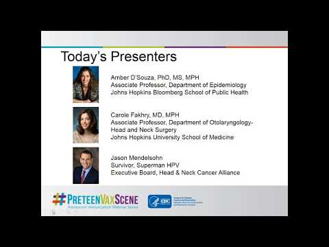 CDC Webinar – Perspectives on Oropharyngeal Cancer
