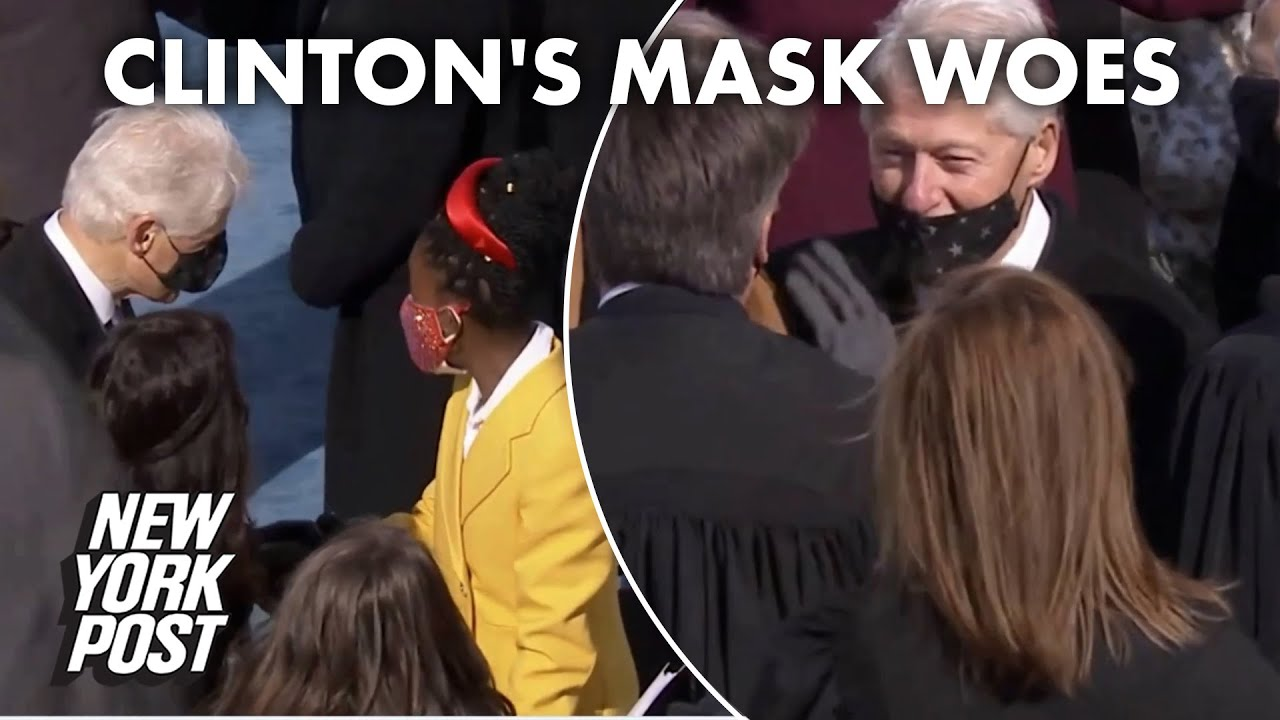 Bill Clinton's mask struggles at inauguration drive Twitter wild