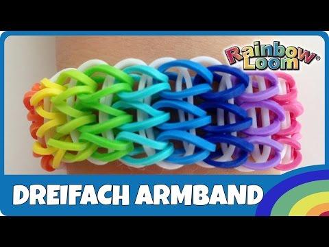 RainbowLoom Dreifach-Armband – deutsche Anleitung