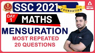 SSC 2021 Foundation | Maths | Mensuration Most Repeated 20 Questions Day 1