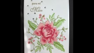 Mother's day card using Peony Bouquet Stamp