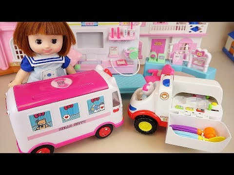 Baby Doll ambulance and Kitty car toys baby doli play