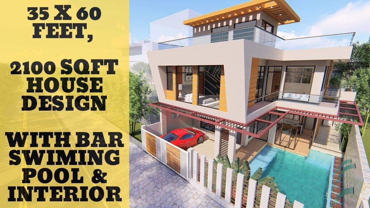 35x60 Feet 2100 Sqft House Design With Swimming Pool House Interior Idea Youtube