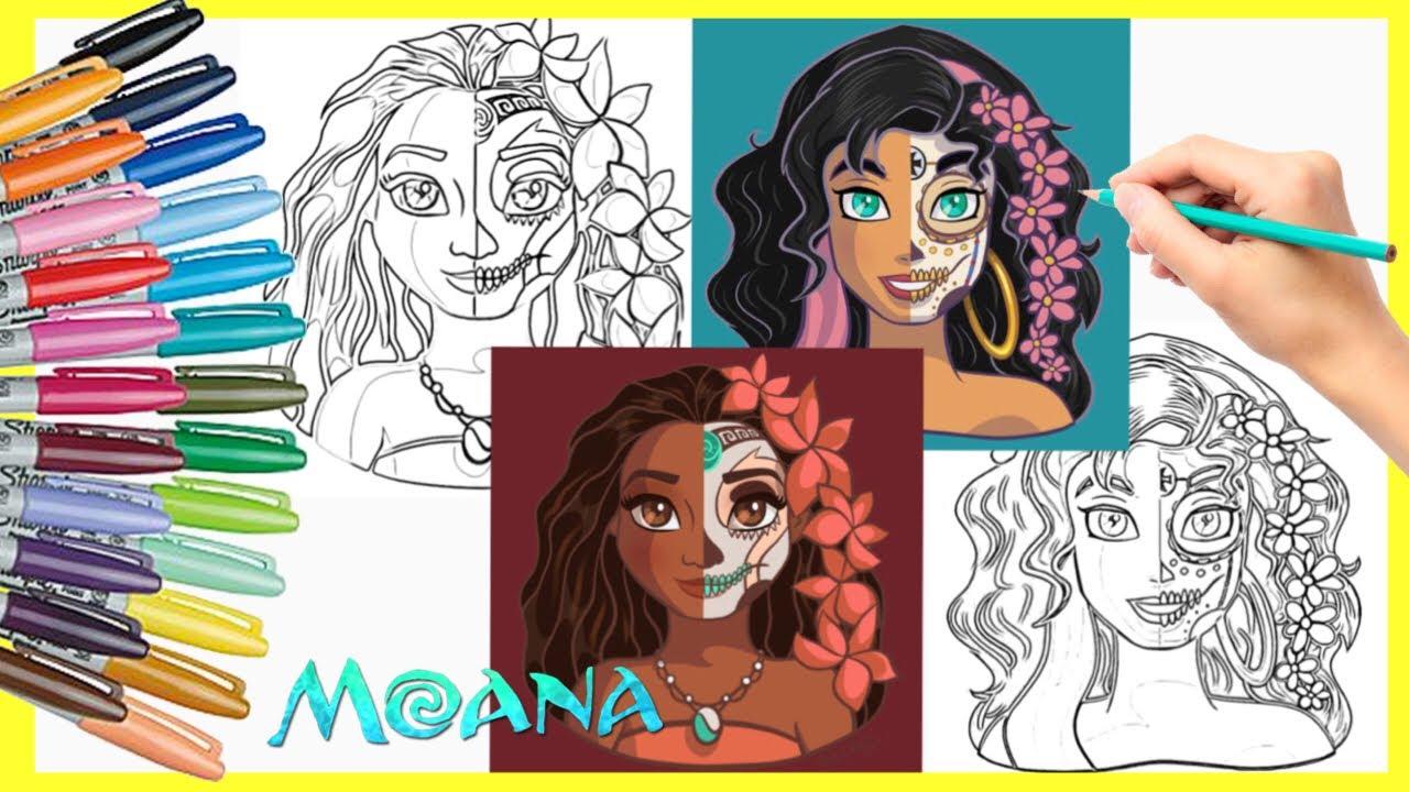 Coloring Moana Esmeralda SUGAR SKULL Disney Princess Coloring Book Pages