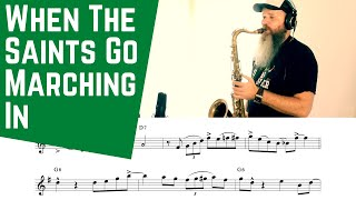 When The Saints Go Marching In ( Saxophone Bb /Eb C instruments ) Backing Track Sheet Musc