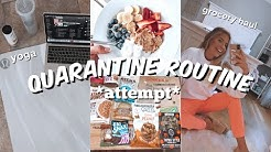my quarantine routine *attempt* // working out, healthy food, & organizing