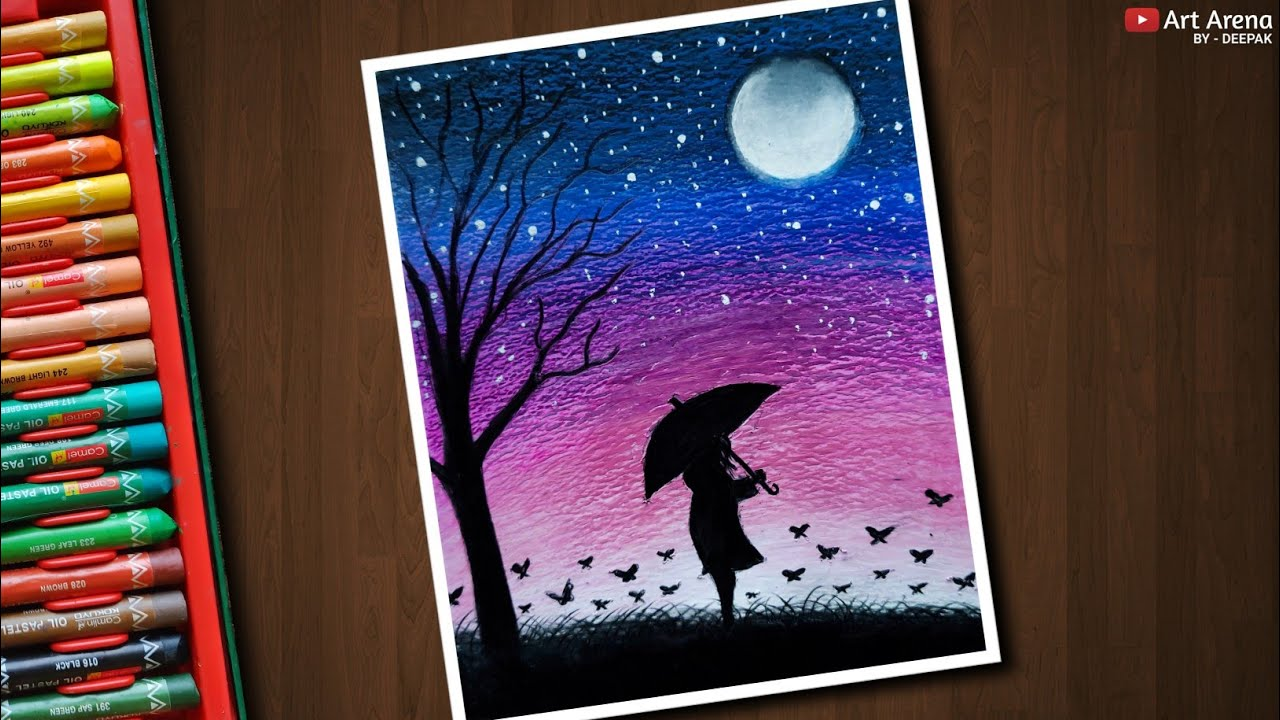 Featured image of post Moonlight Beautiful Night Scenery Drawing