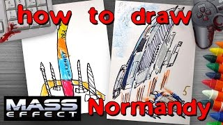 How to draw Normandy from Mass Effect