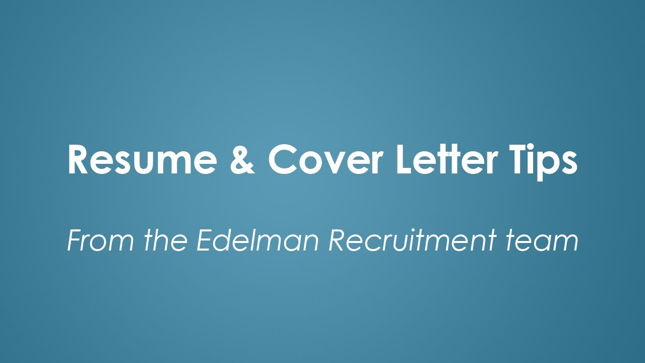 Resume And Cover Letter Tips Youtube