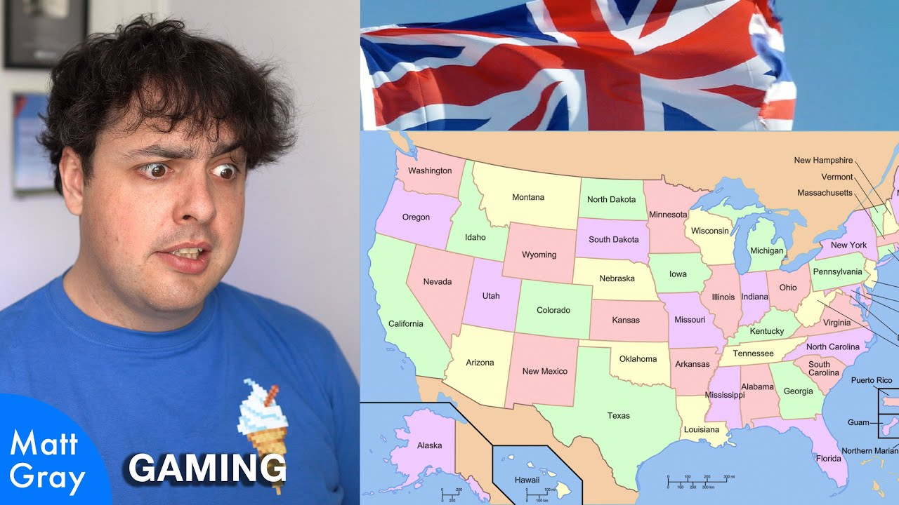 Youtube Thumbnail Image: 🇺🇸🇬🇧 Can a Brit name all 50 US States and place them on a map‽