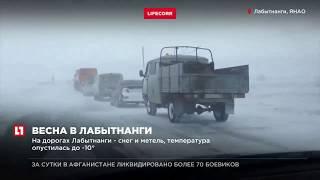 На дорогах Лабытнанги - снег и метель, температура опустилась до -10°