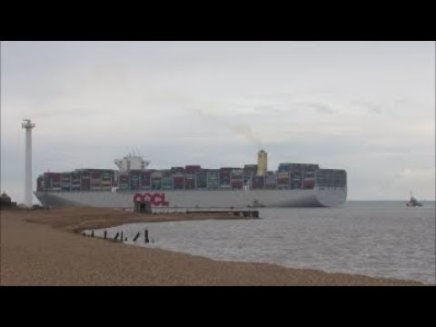 OOCL Hong Kong departs the Port of Felixstowe with a powered indirect  10th May 2018