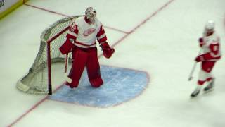 Howard and Mrazek during pre-game warm-up at the Red Wings @ Senators hockey game
