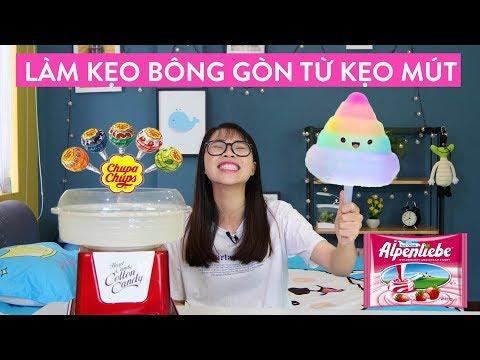 Thử Làm Kẹo Bông Gòn Bằng Kẹo Mút - Kẹo Alpenliebe Và Kẹo Nhật Bản
