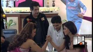 Rakhi, Veena Malik Engage In Arm Wrestling To Grab Yuvraj
