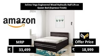 Solimo Vega Engineered Wood Hydraulic Half Lift-on Queen Bed (Espresso Finish)