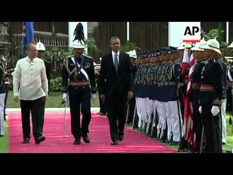President Obama arrives at the Presidential Palace in Manila with a welcome ceremony and signs Presi