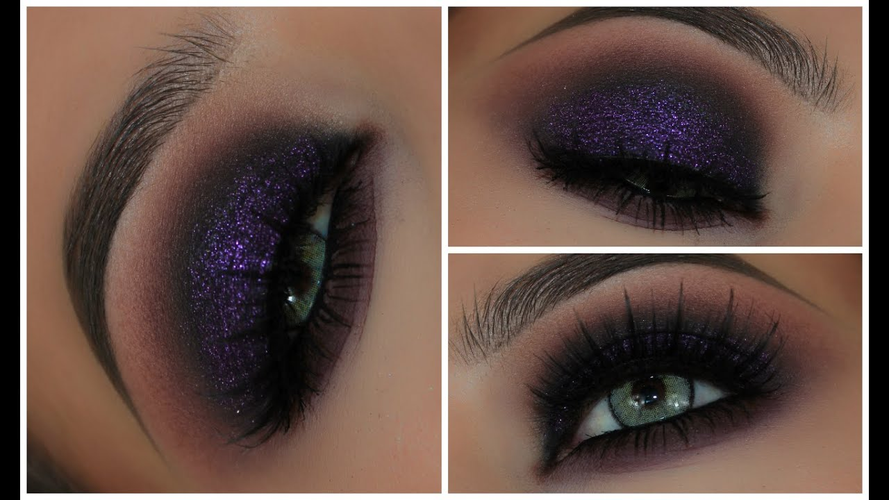 Purple Glitter Grunge Eyeshadow Look | Amys Makeup Box - YouTube