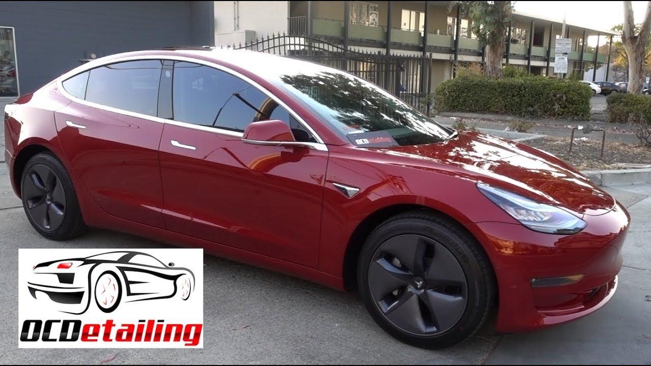 Tesla Model 3 Red Multi Coat 3m Crystalline Window Tint Ocdetailing