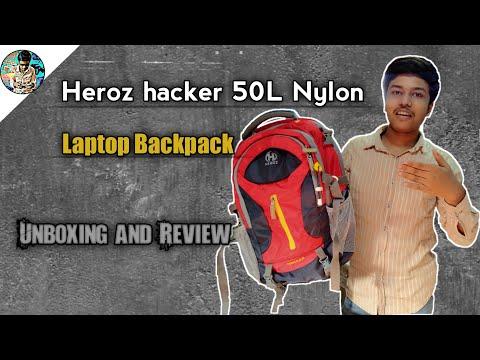 heroz hacker 50 litres nylon travel laptop backpack unboxing and review. heroz hacker bag