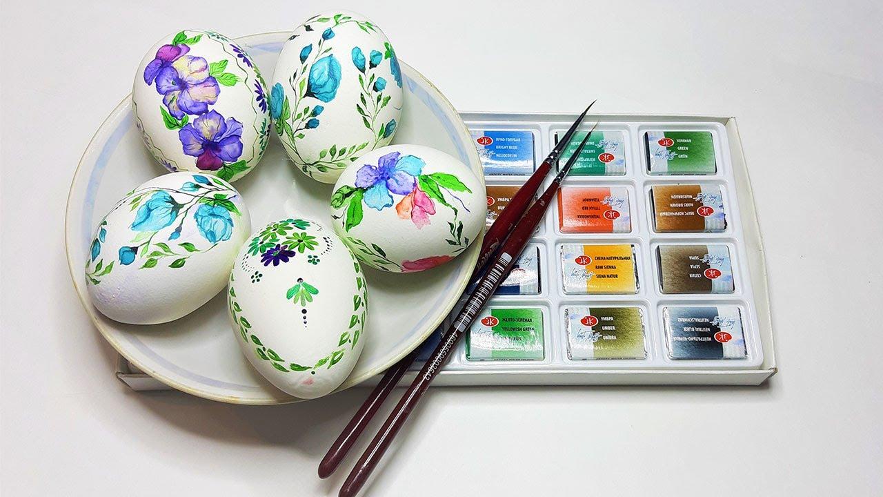 Роспись пасхальных яиц акварелью / Красим яйца на пасху ...