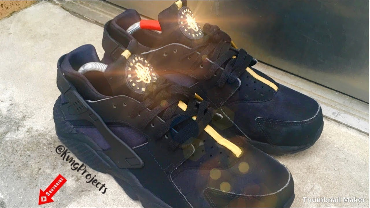 dd8306fa6447 Custom Nike Huaraches  Gold  + Time lapse - YouTube