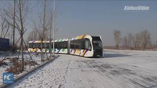 Baixar China tests smart electric train running on virtual tracks in frigid weather