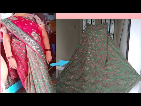saree convert Anarkali lehenga with zip