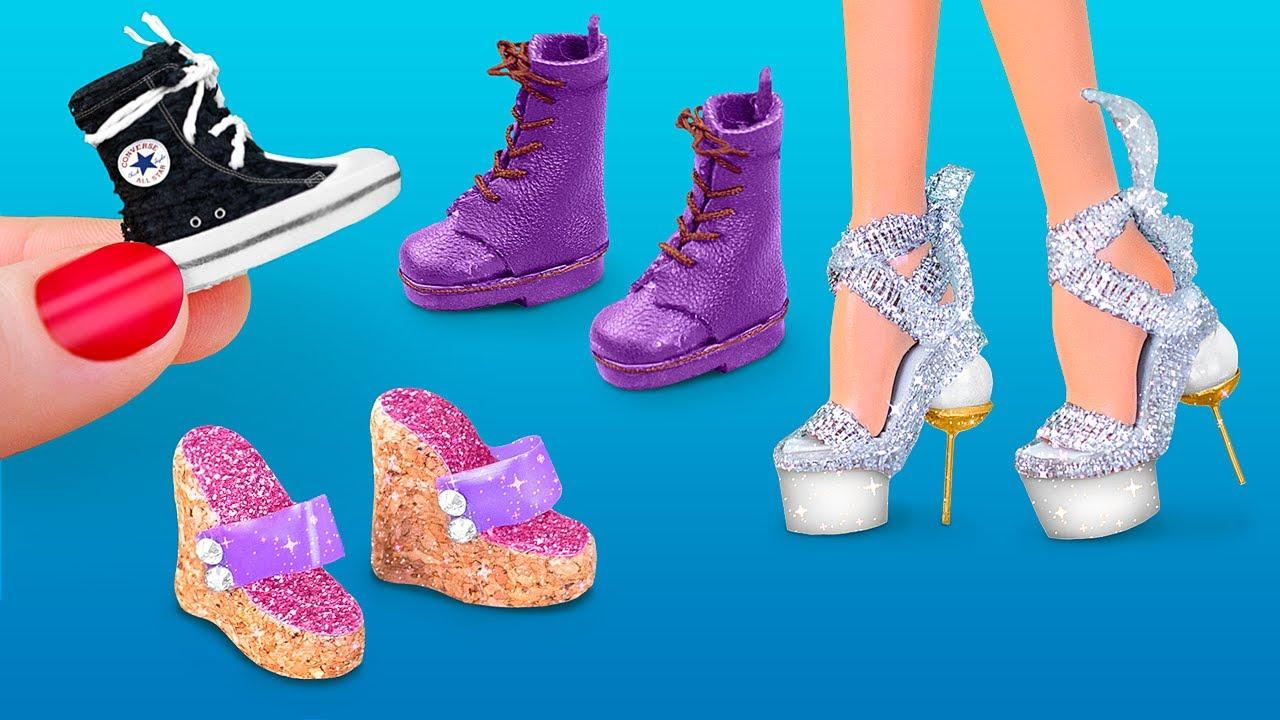 6 Tane Kendin Yap Tarzı Barbie Minyatür Ayakkabı El Sanatı