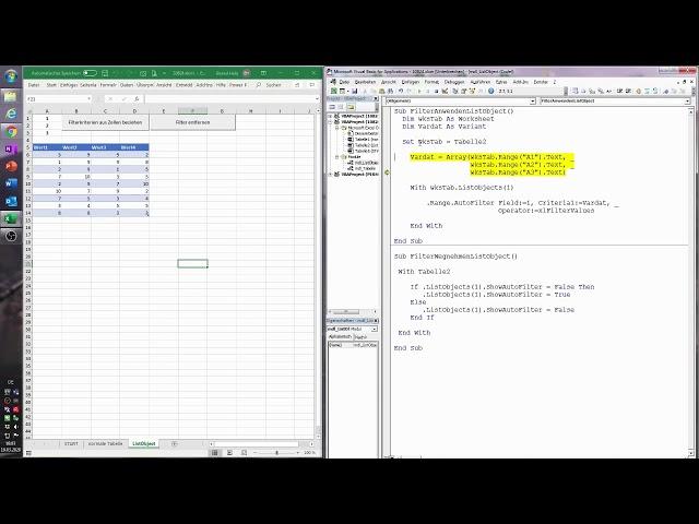 122. Excel-VBA: Die Filterkriterien für den Datenfilter aus Zellen beziehen