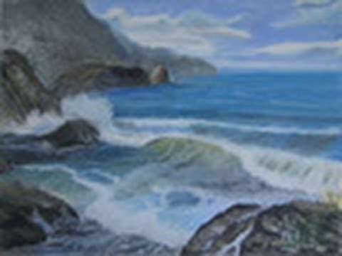 Rocky Beach Speed Oil Pastel Drawing