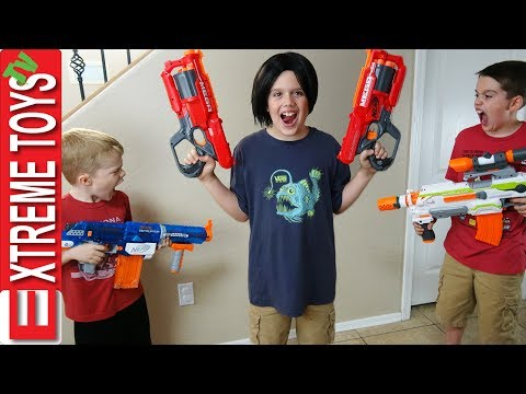 Thumbnail: Evil Ethan Clone Nerf Battle! Bad Copy From the Clone Machine Attacks Cole With Nerf Blasters!