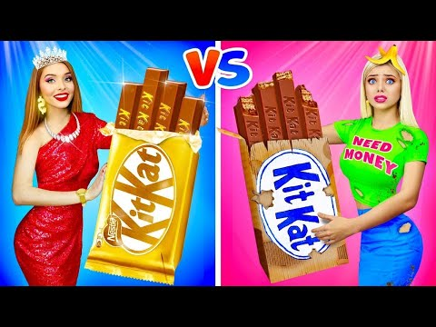 RICH GIRL vs POOR GIRL CHOCOLATE CHALLENGE!    Eating Fake Jewelry! Taste Test by RATATA BOOM