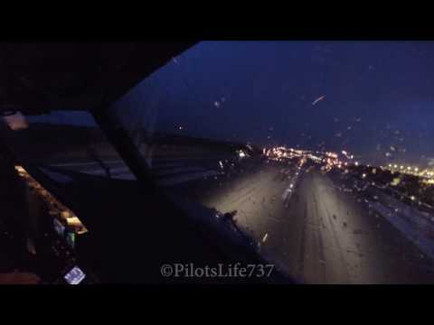 Boeing 737 Cockpit view  -  Windy and Rainy Takeofff Agadir RWY28 {GMAD - AGA}