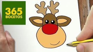 COMO DIBUJAR UN RENO PARA NAVIDAD PASO A PASO: Dibujos kawaii navideños - How to draw a Reindeer