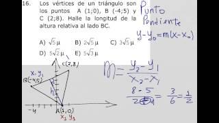 Como calcular la altura de un triángulo en geometría analítica