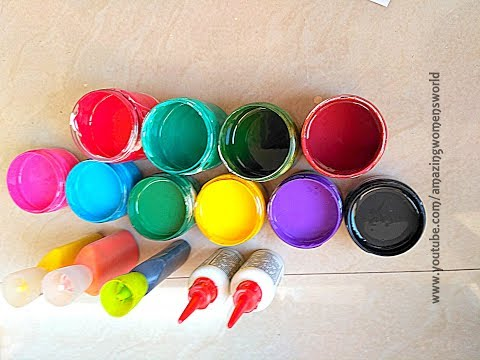 Fabric Paints | This is how I make Fabric paints, Liquid embroidery cones,OUT LINERS at home