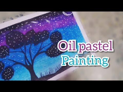 Night sky Oil pastel painting #mfmom #oilpastelpaintingnightsky