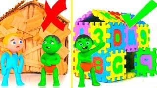 ABC PLAYHOUSE VS CARDBOARD HOUSE ❤ SUPERHERO PLAY DOH CARTOONS FOR KIDS