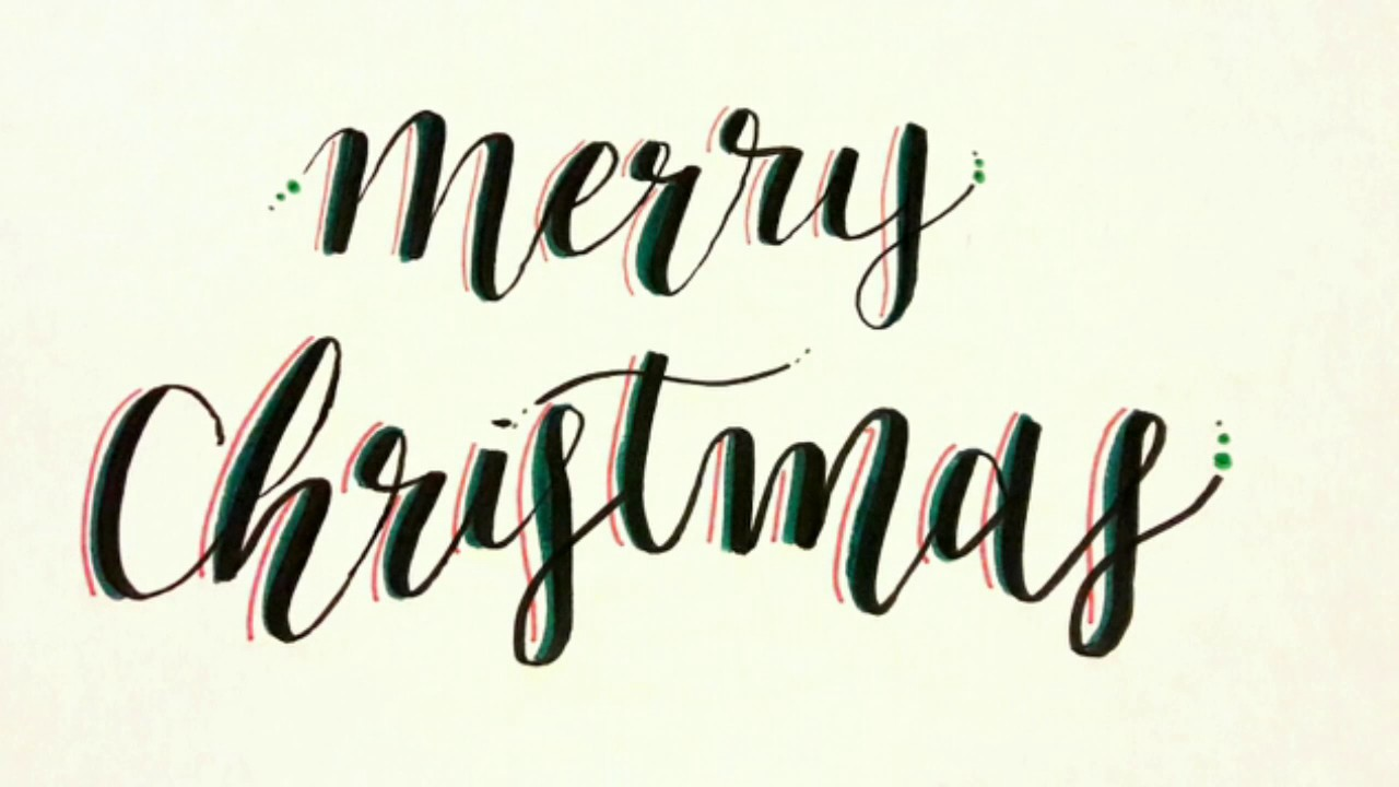 Christmas Calligraphy.Merry Christmas Calligraphy Timelaspe