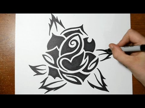 How to Draw a Rose - Cool Tribal Art Style