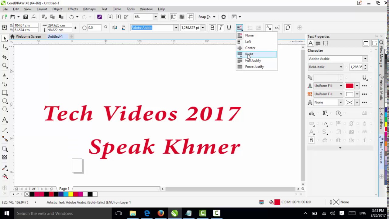 Corel draw viewer online - How To Use Text Tool Table Tool In Coreldraw X8 Speak Khmer