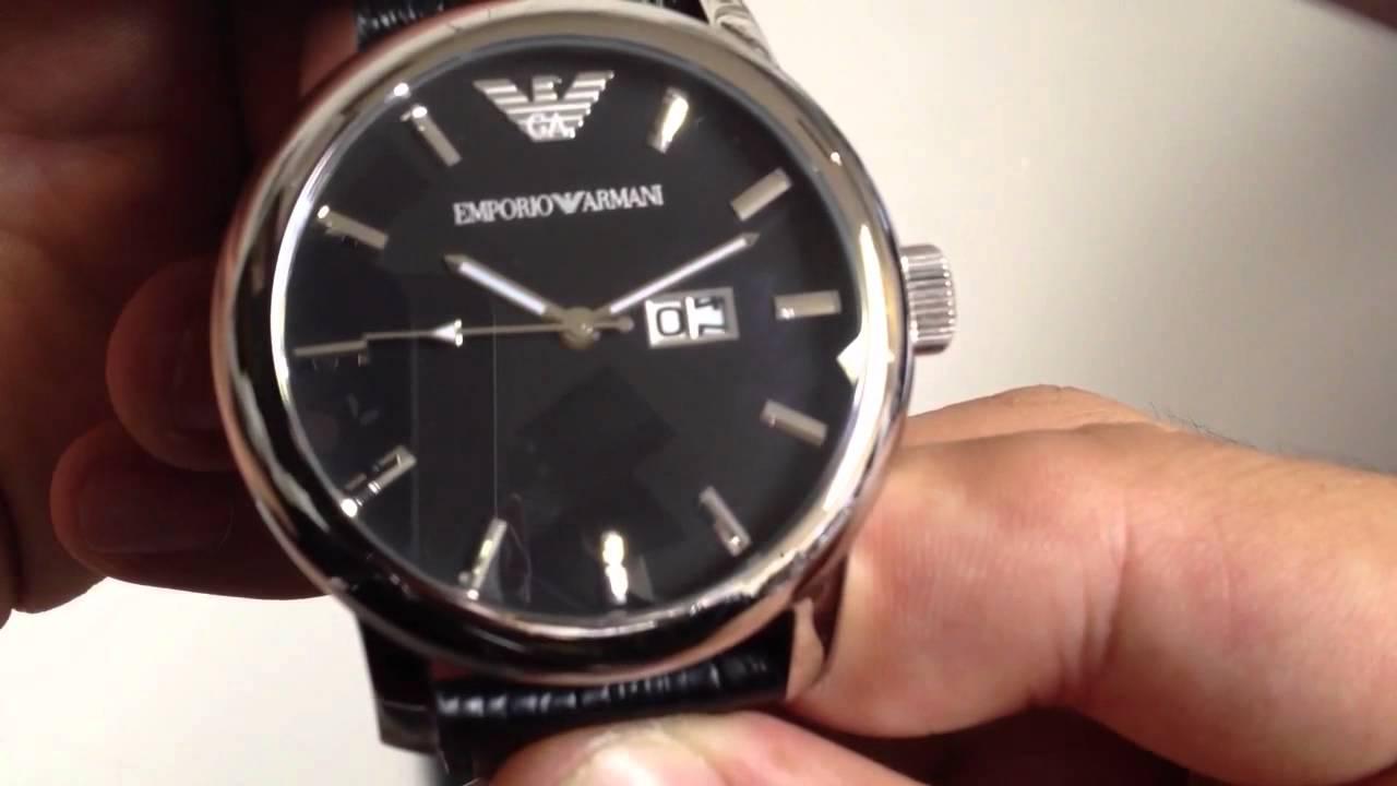 Men s Emporio Armani Classic Black Watch AR0428 - YouTube 84e89097d233f
