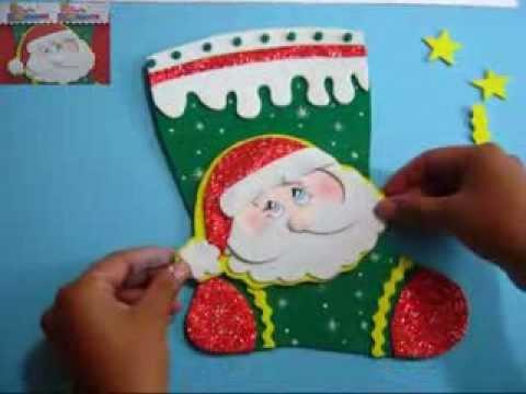 Bota Navideña Papá Noel Santa Claus O San Nicolas Paso A Paso Con Moldes