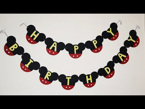 DIY Mickey Mouse Birthday Banner | Mickey Mouse Party Decoration Ideas At Home